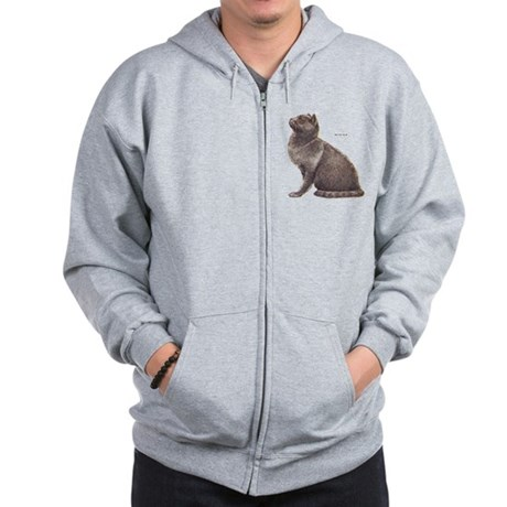 British Blue Cat Zip Hoodie
