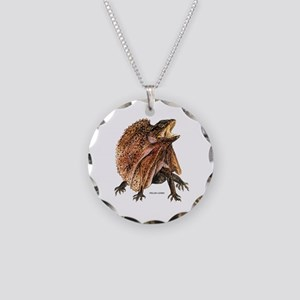 Frilled Lizard Necklace Circle Charm