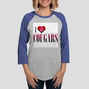 I Heart Cougars Womens Baseball Tee