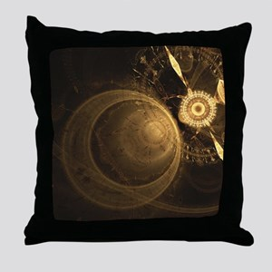 Golden Clock Throw Pillow