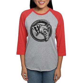 Distressed Wild Zebra Stamp Womens Baseball Tee