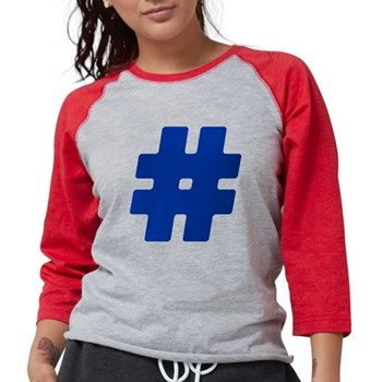 Blue #Hashtag Womens Baseball Tee