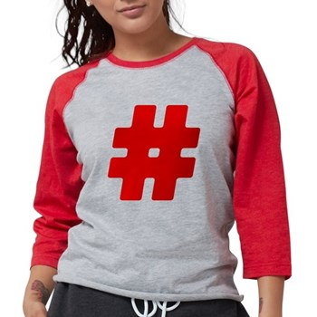 Red #Hashtag Womens Baseball Tee