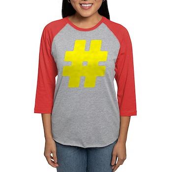Yellow #Hashtag Womens Baseball Tee