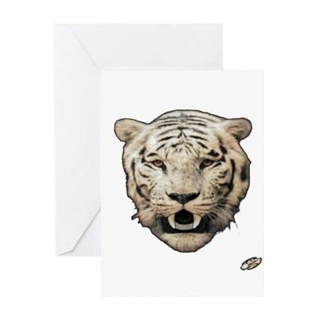white tiger face art illustration Greeting Card