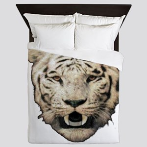 white tiger face art illustration Queen Duvet