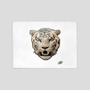 white tiger face art illustration 5'x7'Area Rug