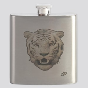 white tiger face art illustration Flask