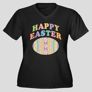 Happy Easter Egg Women's Plus Size V-Neck Dark T-S