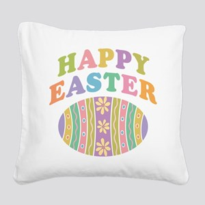 Happy Easter Egg Square Canvas Pillow