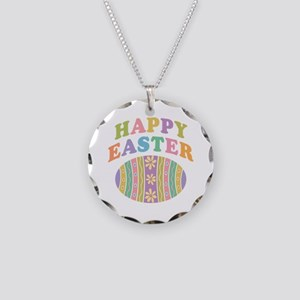Happy Easter Egg Necklace Circle Charm