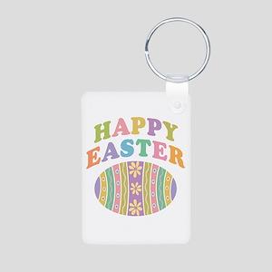 Happy Easter Egg Aluminum Photo Keychain