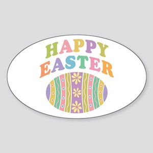Happy Easter Egg Sticker (Oval)