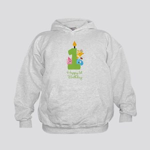 First Birthday candle and animals Kids Hoodie