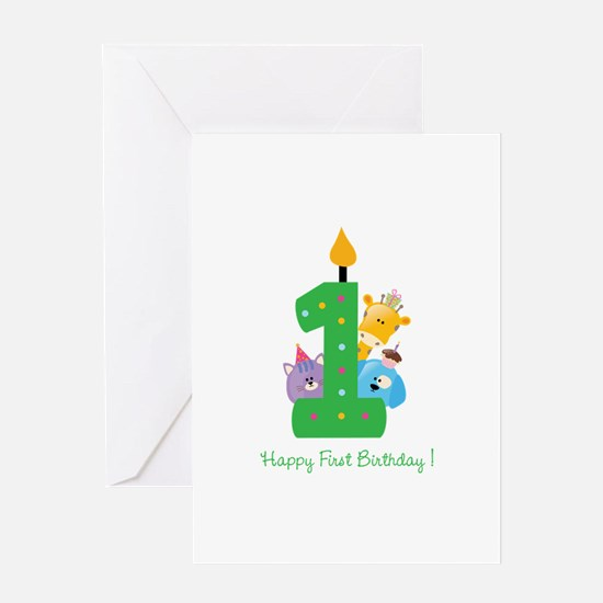 First Birthday candle and animals Greeting Card