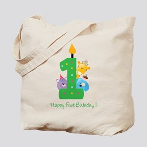 First Birthday candle and animals Tote Bag