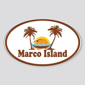 Marco Island - Palm Trees Design. Sticker (Oval)