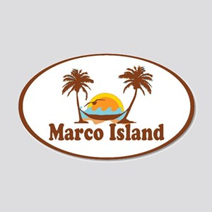 Marco Island - Palm Trees Design. 20x12 Oval Wall