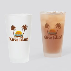 Marco Island - Palm Trees Design. Drinking Glass