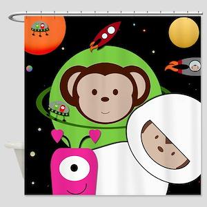 Monkeys In Space Aliens Rockets Shower Curtain