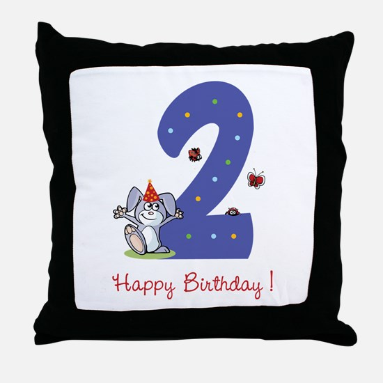Second Birthday Bunny Throw Pillow