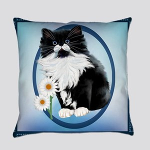 Kitten And Daisy Oval Everyday Pillow