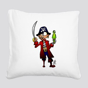 Pirate with sword and parrot Square Canvas Pillow