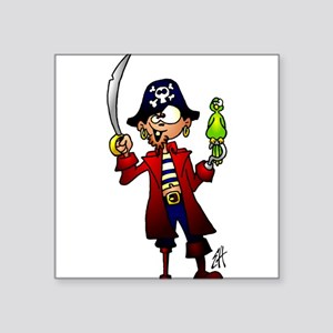Pirate with sword and parrot Sticker