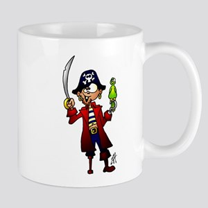 Pirate with sword and parrot Mug