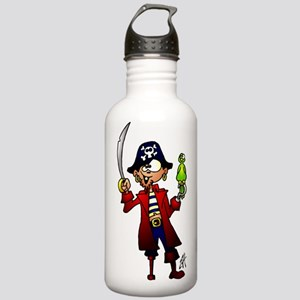 Pirate with sword and parrot Water Bottle
