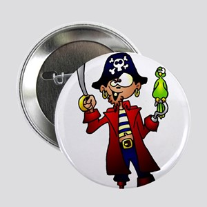 """Pirate with sword and parrot 2.25"""" Button"""