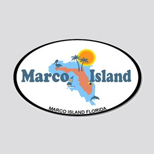 Marco Island - Map Design. 20x12 Oval Wall Decal