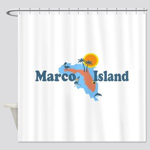 Marco Island - Map Design. Shower Curtain