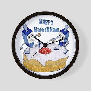 Judaica Dreidels Dancing on a Doughnut Wall Clock