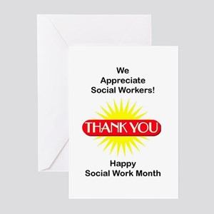 Social Work Thank You Greeting Cards