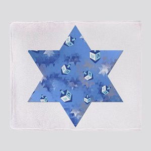 Judaica Dreidels Stars Star Of David Throw Blanket