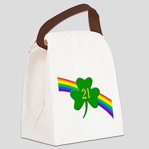Rainbow Shamrock 21 Canvas Lunch Bag