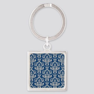 Monaco Blue & Linen Damask #4 Square Keychain