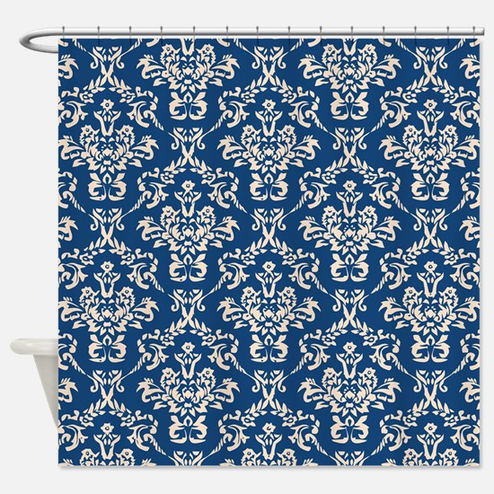 Monaco Blue & Linen Damask #4 Shower Curtain
