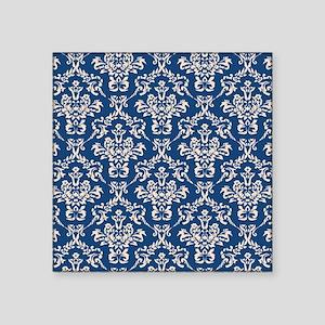 """Monaco Blue & Linen Damask #4 Square Sticker 3"""" x"""