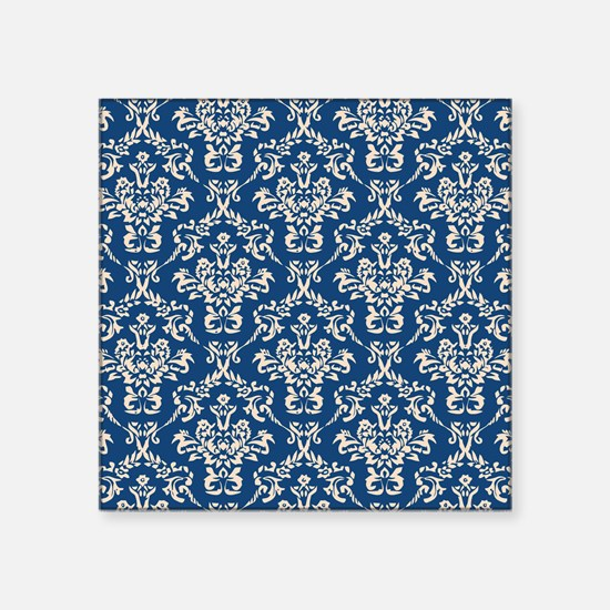 "Monaco Blue & Linen Damask #4 Square Sticker 3"" x"