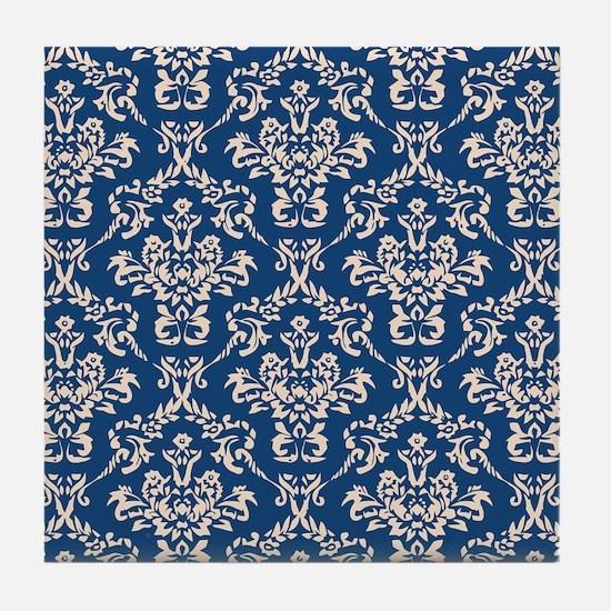 Monaco Blue & Linen Damask #4 Tile Coaster