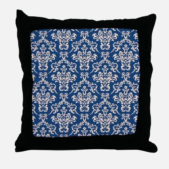Monaco Blue & Linen Damask #4 Throw Pillow