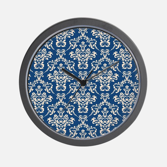 Monaco Blue & Linen Damask #4 Wall Clock