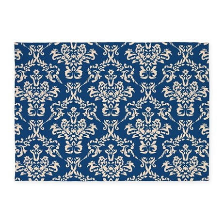 Monaco Blue Amp Linen Damask 4 5 X7 Area Rug By
