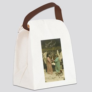 French Christmas Angels Canvas Lunch Bag