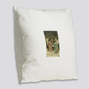 French Christmas Angels Burlap Throw Pillow