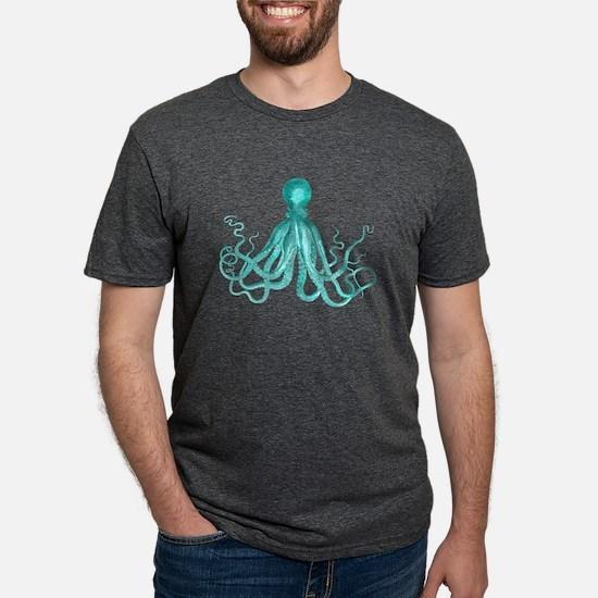 Blue/Green Octopus Mens Tri-blend T-Shirt