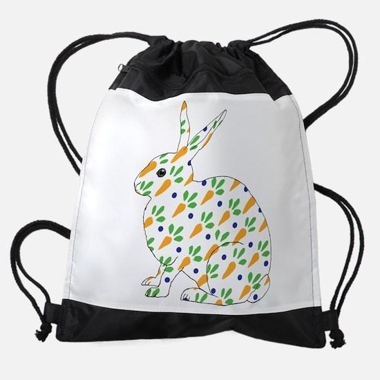 Carrot Calico Rabbit Drawstring Bag