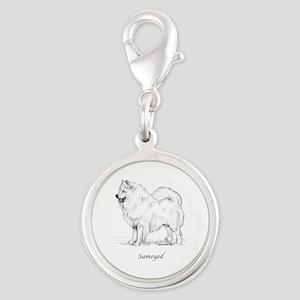 Samoyed Silver Round Charm